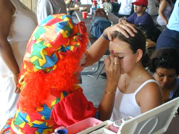 We have clowns for hire in Fort Worth who also do face painting